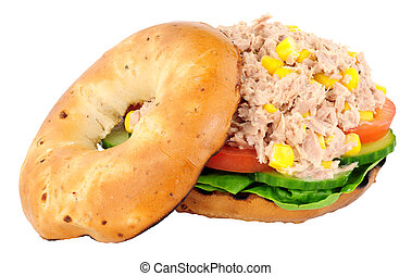 Tuna And Sweetcorn Filled Bagel - Tuna fish and sweetcorn...