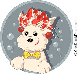 Funny Dog with Hair Rollers Pet Salon Vector Cartoon.eps