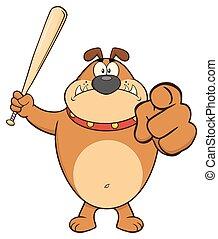 Angry Brown Bulldog Cartoon Mascot Character Holding A Bat And Pointing