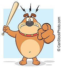 Angry Brown Bulldog Cartoon Mascot Character Holding A Bat And Pointing