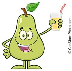 Pear Fruit With Green Leaf Cartoon Mascot Character Holding Up A Glass Of Juice