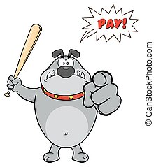 Angry Gray Bulldog Cartoon Mascot Character Holding A Bat And Pointing