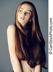 revitalizing hair balm - Beauty portrait. Young woman with...