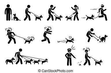 Man Walking Dog. - Stick figures depict people walking pet...