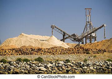 shorefront, Procesamiento, grande, Yardas, Máquinas, madera