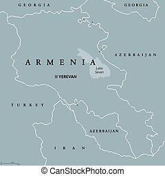 Armenia political map with capital Yerevan. Republic and...