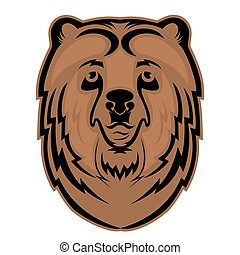Bear head mascot for a sports team. Vector logo.