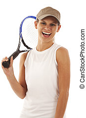 Young woman with tennis racket - Portrait of young woman...