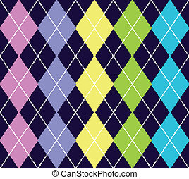 Vector argyle seamless pattern on blue background, repeating...