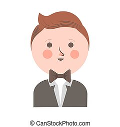 Cute boy in tuxedo and bowtie with round head