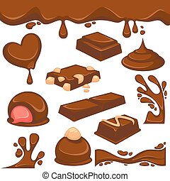 Chocolate dessert and candy vector icons - Chocolate...