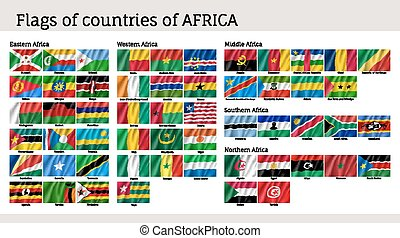 Africa flags big set. Travel agency or classroom geography...