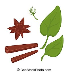 Cinnamon in tube and star shapes and fresh greenery -...