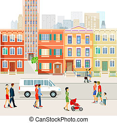 Stadt-Strasse - Street in the city with people. illustration