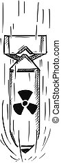 Cartoon Vector of Air Bomb with Nuclear Atomic Symbol Sign -...