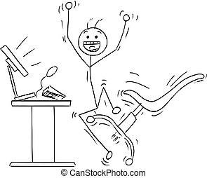 Vector Stick Man Cartoon of Happy Man Celebrating a Success in Front of the Computer