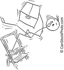 Vector Stick Man Cartoon of Man Falling from Stepladder ladder with Large Paper Box