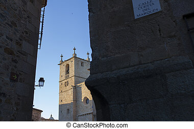 Caceres St. Marys cathedral from Cuesta del Marques street....