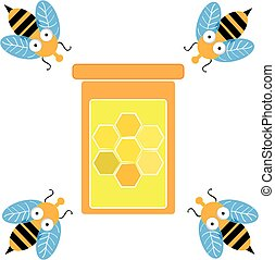 Bees with glass of money isolated on white background. Vector illustration.