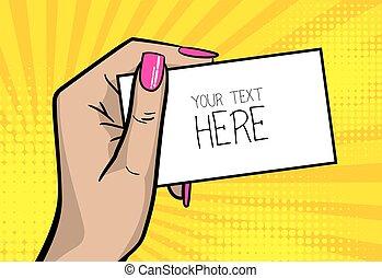 Pop art comic text business card girl woman hand - Pop art...