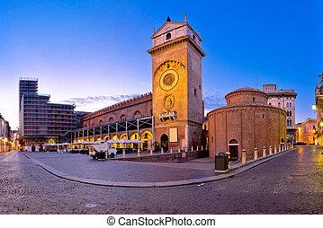 Mantova city Piazza delle Erbe evening view, European...
