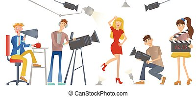 Shooting a movie or a TV show. A director with a loudspeaker, cameramen and an actress or model. Vector illustration.