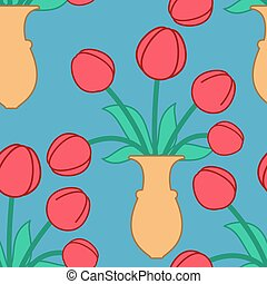 Red tulip in vase seamless pattern. Beautiful flowers in jug texture. Ornament for cloth
