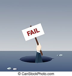 Business Hand Hold Placard From Hole Businessman Fail Bankruptcy Crisis Concept