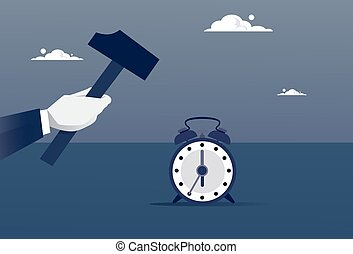 Hand Hold Hammer Broking Alarm Clock Time Management Concept...