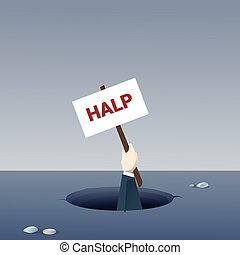 Business Hand Hold Help Placard From Hole Businessman Fail Bankruptcy Crisis Concept