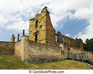 The ruins of the Hospital at Tasmanias historic Port Arthur...