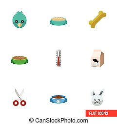 Flat Icon Animal Set Of Fish Nutrient, Feeding, Osseous And Other Vector Objects. Also Includes Bone, Box, Cat Elements.