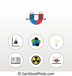 Flat Icon Knowledge Set Of Attractive Force, Lightbulb,...