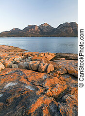 The Hazards, on Tasmania's Freycinet Peninsula at sunset.