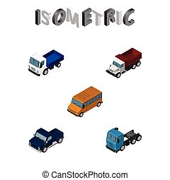 Isometric Automobile Set Of Suv, Freight, Autobus And Other Vector Objects. Also Includes Bus, Freight, Suv Elements.