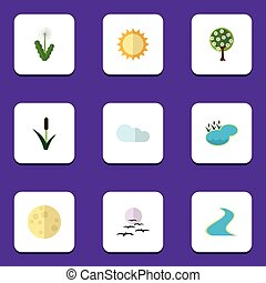 Flat Icon Natural Set Of Tree, Cattail, Solar And Other...
