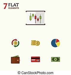 Flat Icon Gain Set Of Billfold, Cash, Greenback And Other...