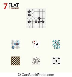 Flat Icon Play Set Of Ace, Backgammon, Chess Table And Other...