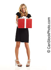 Young woman holding present