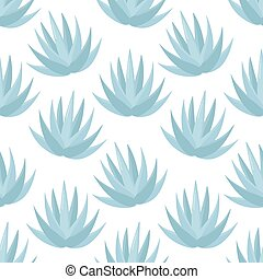 Blue agave vector seamless pattern, Flat design of superfood...
