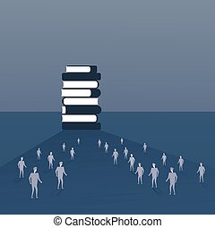 Silhouette People Crowd Walking To Books Stack Student Education Concept