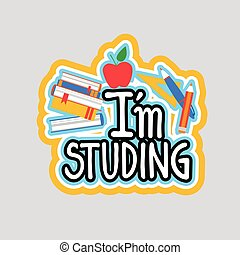 Studing Sticker Social Media Network Message Badges Design...