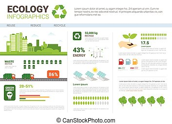 Ecology Infographic Banner Recycle Waste Sorting Garbage...