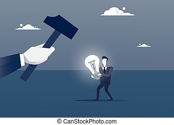 Hand Hold Hammer Broking Business Man With Light Bulb Crack...