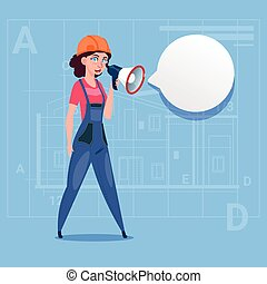 Cartoon Female Builder Holding Megaphone Making Announcement Woman Construction Worker Over Abstract Plan Background