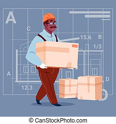 Cartoon African American Builder Carry Box Wearing Uniform...