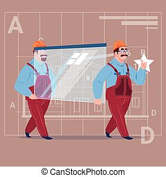 Two Cartoon Builders Carry Glass Wearing Uniform And Helmet...