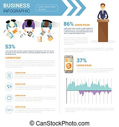 Business Infographics Set With Copy Space For Presentation Meeting Negotiation Concept