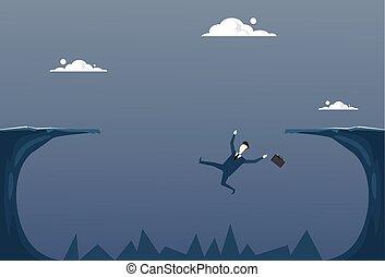 Business Man Falling In Cliff Gap Businessman Fail...