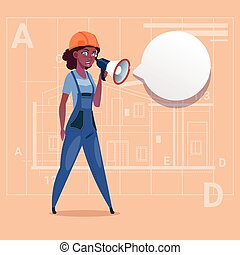 Cartoon Female Builder Holding Megaphone Making Announcement African American Construction Worker Over Abstract Plan Background